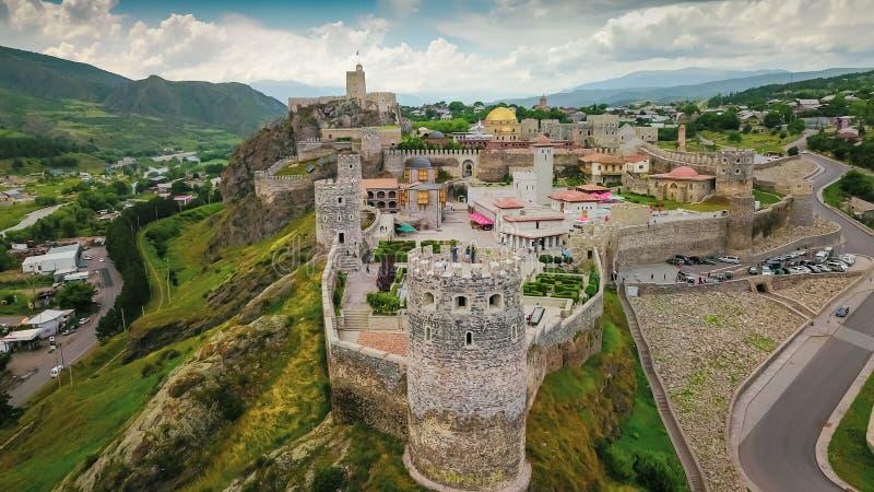 Воздушное фотографирование для замка Akhaltsikhe старого в Грузии стоковое изображение rf
