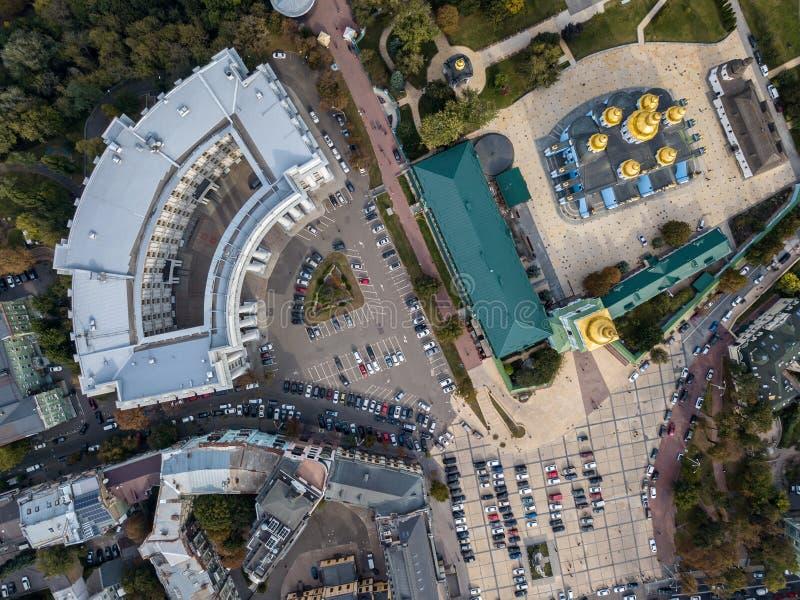 Воздушное фото городского пейзажа стоковое изображение rf