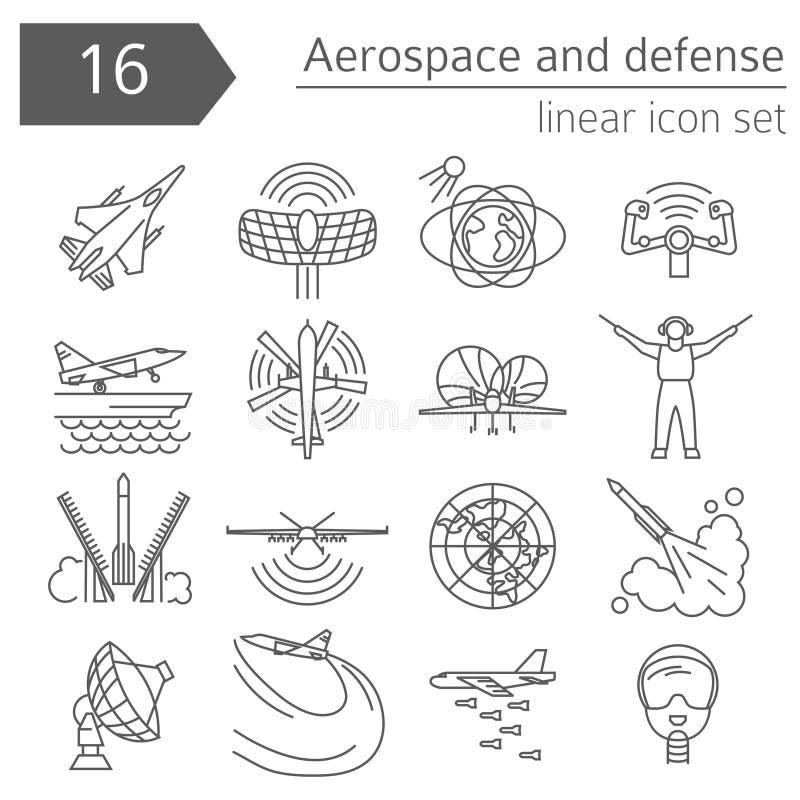 Воздушно-космическое пространство и оборона, комплект значка военного самолета Тонкая линия des иллюстрация вектора