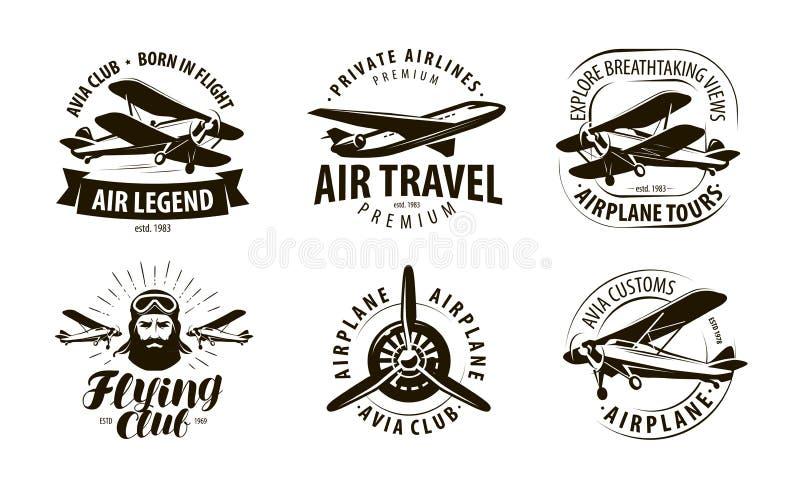 Воздушные судн, логотип самолета или ярлык клуб летания, комплект значка авиакомпаний Типографская иллюстрация вектора дизайна бесплатная иллюстрация