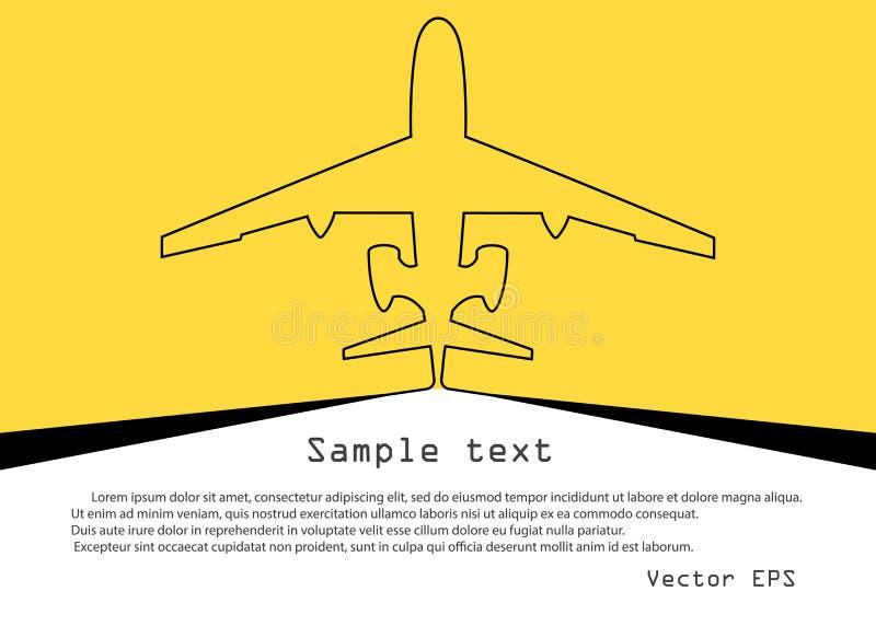 Воздушные судн Эскиз вектора непрерывной плоской линии на желтой предпосылке с космосом для текста Знамя шаблона, плакат, предпос иллюстрация вектора