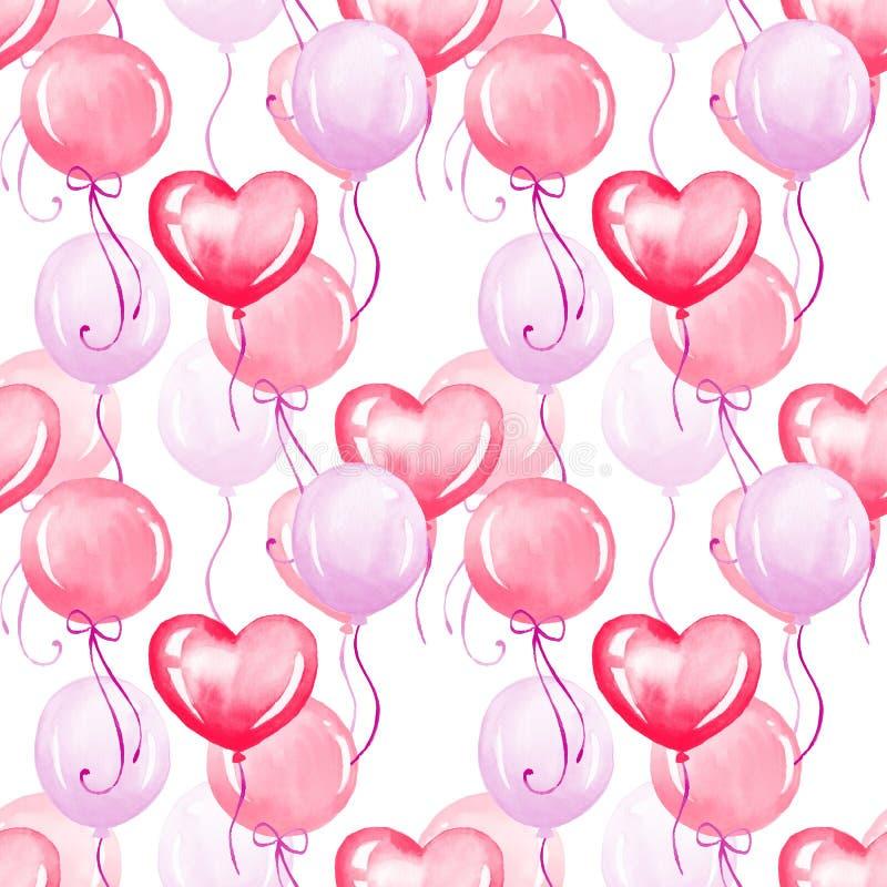 Воздушные шары, безшовная картина 2 иллюстрация вектора