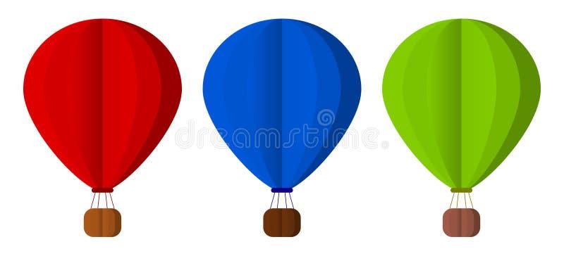 воздушные шары горячие Комплект Бумажный стиль вектор иллюстрация вектора