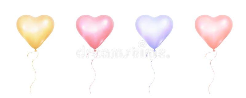 Воздушные шары дня валентинок Пук реалистических воздушных шаров пастельных цветов формы сердца иллюстрация вектора