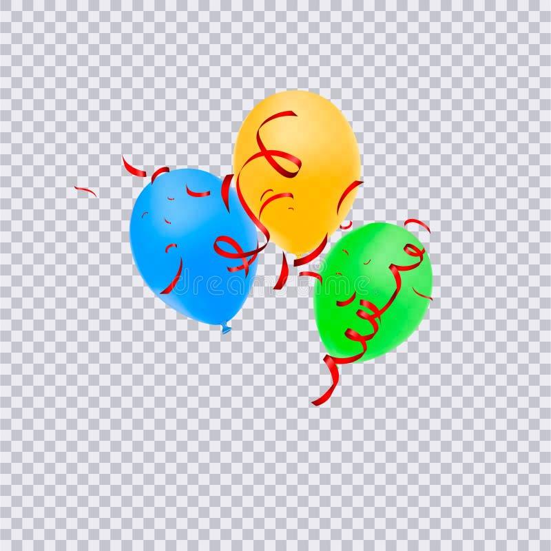 Воздушные шары дня рождения с confetti изолированным на прозрачной предпосылке С днем рождения принципиальная схема иллюстрация вектора