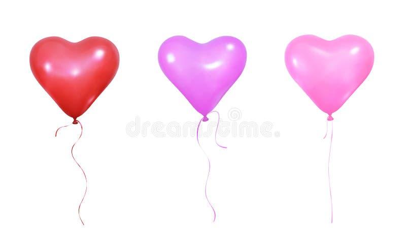 Воздушные шары дня ` s валентинки Установите реалистических воздушных шаров гелия формы и лент сердца бесплатная иллюстрация