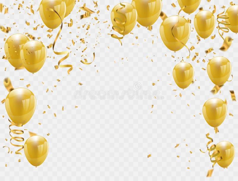 воздушные шары золота и предпосылка партии confetti иллюстрация штока