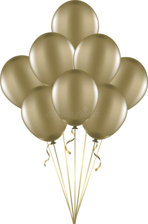 Воздушные шары золота иллюстрация штока