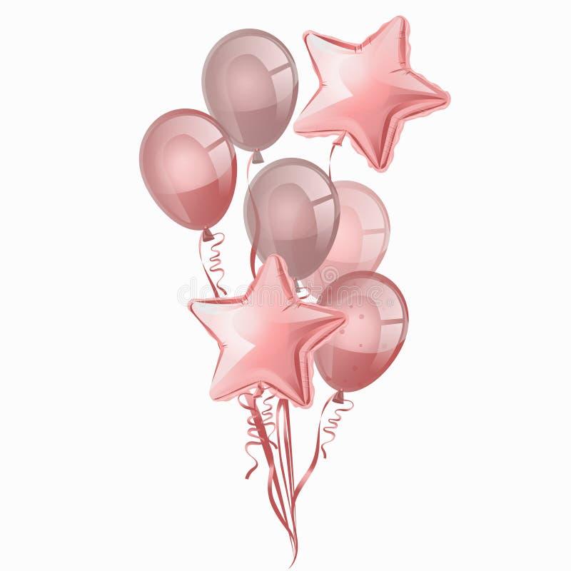Воздушные шары изолированные на белой предпосылке Пук вектора реалистический картины воздушных шаров дня рождения гелия розовой иллюстрация вектора