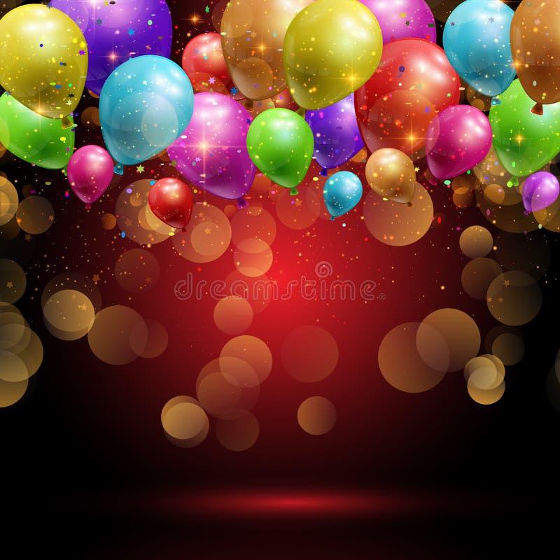 Воздушные шары и предпосылка confetti иллюстрация вектора