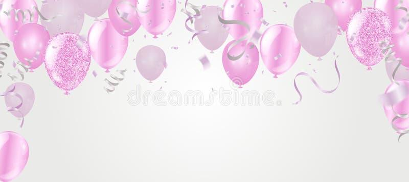 Воздушные шары и С Новым Годом! предпосылка плаката веселого рождества карты зимнего отдыха шаблона иллюстрация вектора
