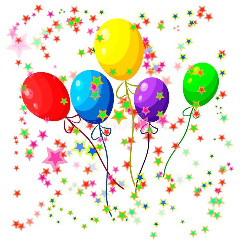 Воздушные шары и confetti иллюстрация вектора