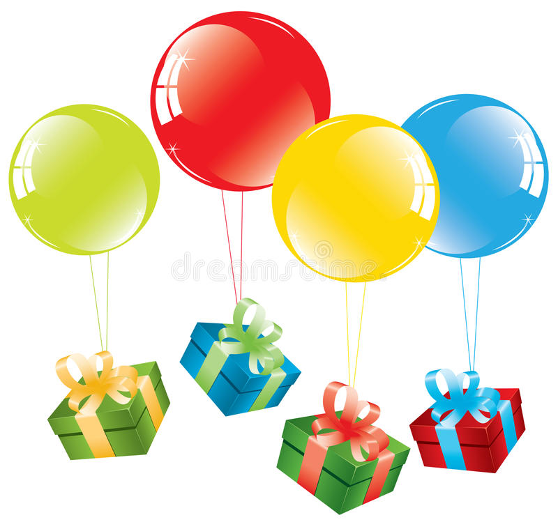 воздушные шары кладут цветастый подарок в коробку бесплатная иллюстрация