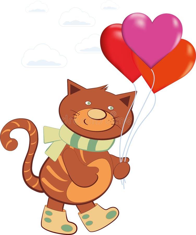 Воздушные шары нося жизнерадостного кота в форме сердца иллюстрация вектора