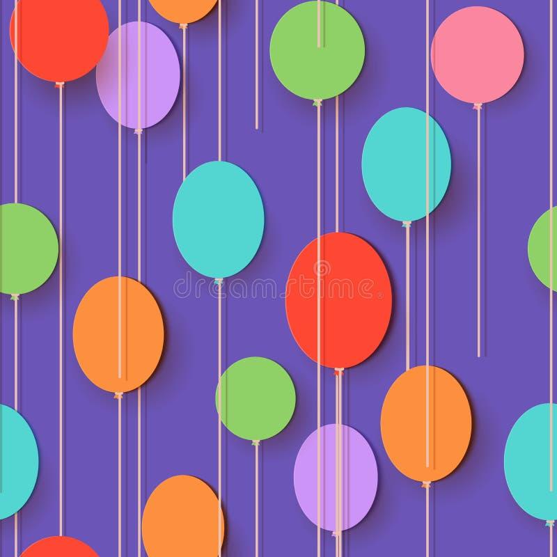 Воздушные шары отрезка бумаги картина безшовная Иллюстрация карточки applique вектора Плоское праздничное летание раздувает украш иллюстрация вектора