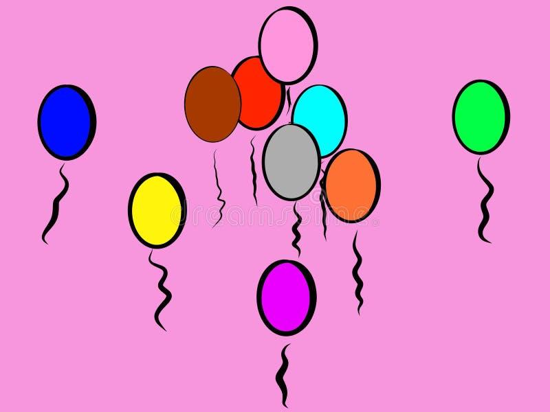 Воздушные шары пинка шаловливые красочные, который нужно усмехнуться около; Он настолько Girly бесплатная иллюстрация