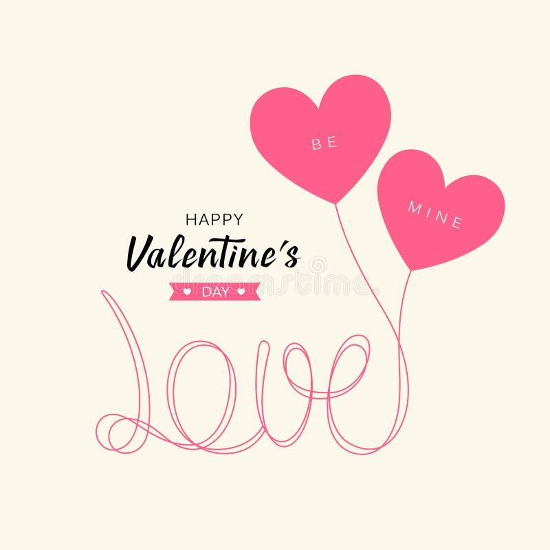Воздушные шары сердца любят дизайн концепции дня Валентайн сообщения счастливый бесплатная иллюстрация