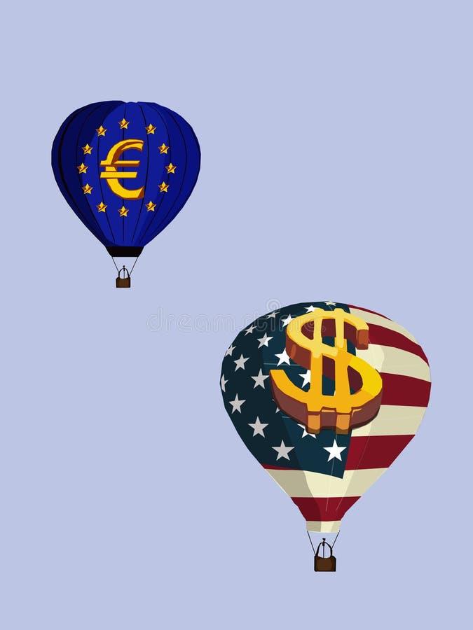 Воздушные шары со знаками евро и долларом, изображением вектора иллюстрация вектора