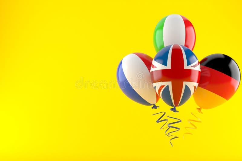 Воздушные шары с флагами бесплатная иллюстрация