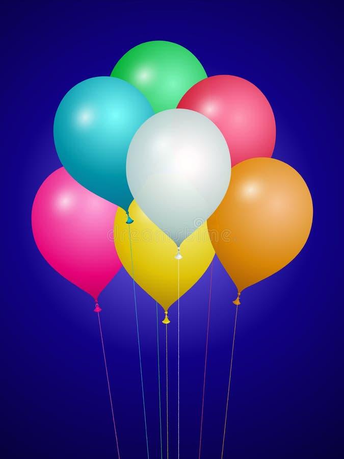 Воздушные шары, confetti и ленты других цветов иллюстрация штока