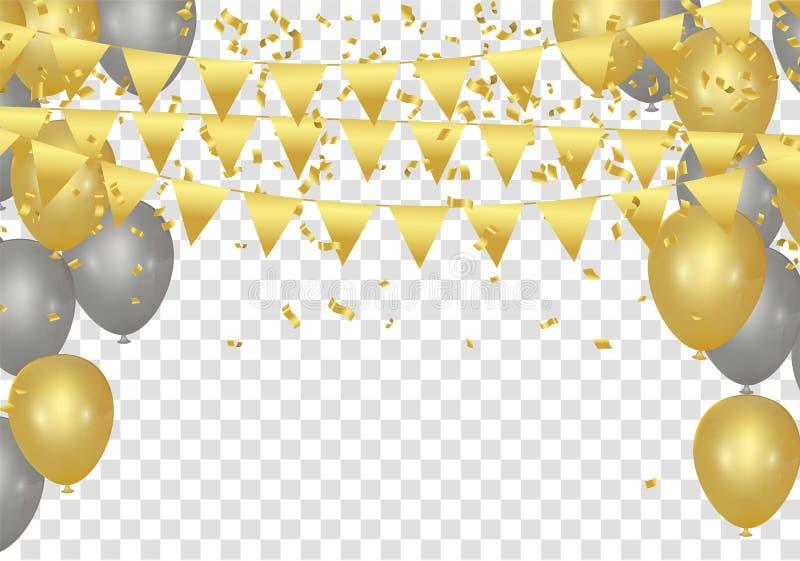 Воздушные шары, confetti и ленты золота на белой предпосылке Vecto иллюстрация штока