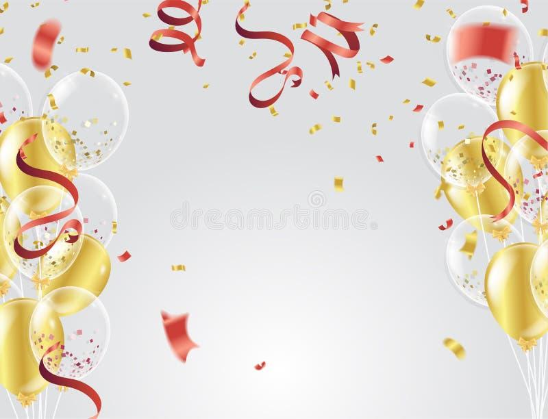 Воздушные шары, confetti и ленты золота на белой предпосылке Vecto иллюстрация вектора