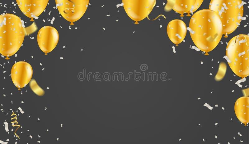 Воздушные шары, confetti и ленты золота также вектор иллюстрации притяжки corel иллюстрация штока