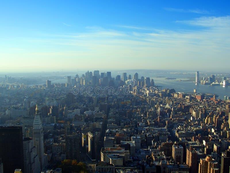 воздушный более низкий manhattan новый над взглядом york стоковые изображения