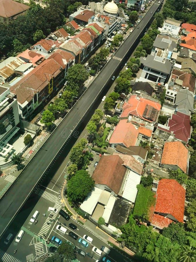 воздушный взгляд города стоковые фотографии rf