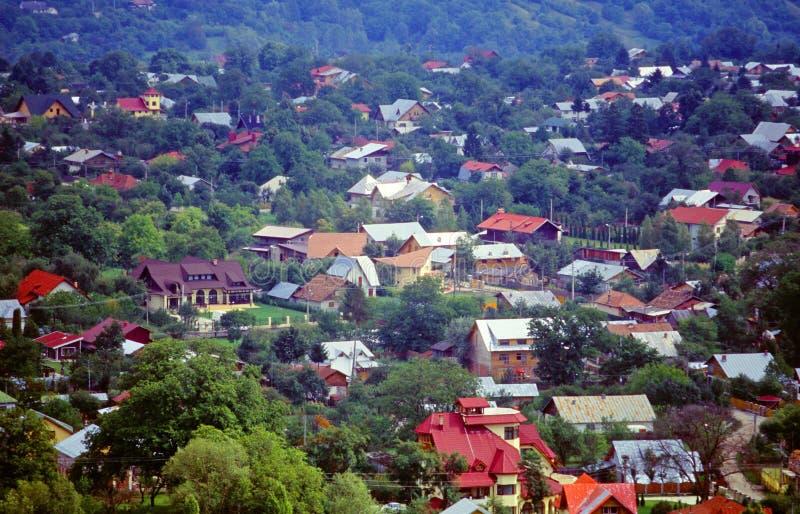 воздушный взгляд городка стоковое изображение