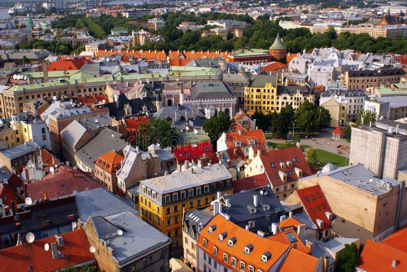 воздушный взгляд городка latvia старый riga стоковые изображения rf
