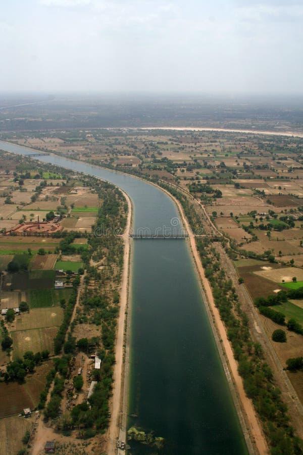 воздушный взгляд полива Индии канала стоковая фотография