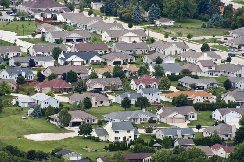 воздушный взгляд резиденций района домов домов стоковая фотография rf