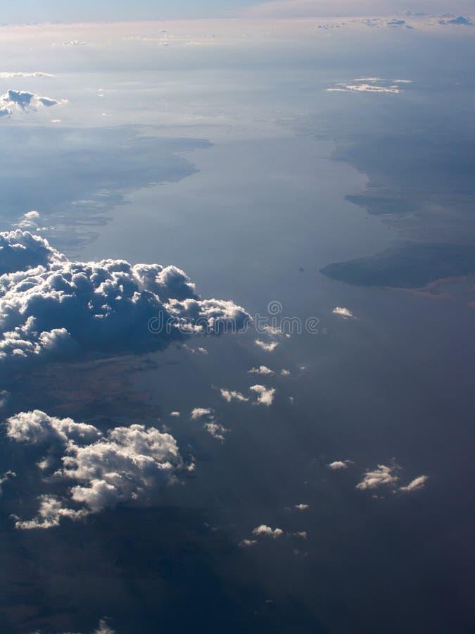 воздушный взгляд реки Амазонкы стоковое фото rf