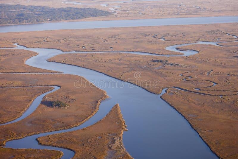 воздушный взгляд соли болотоа стоковая фотография