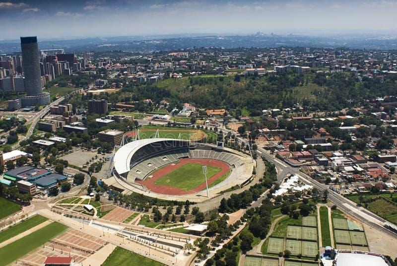 воздушный взгляд стадиона johannesburg стоковое фото rf