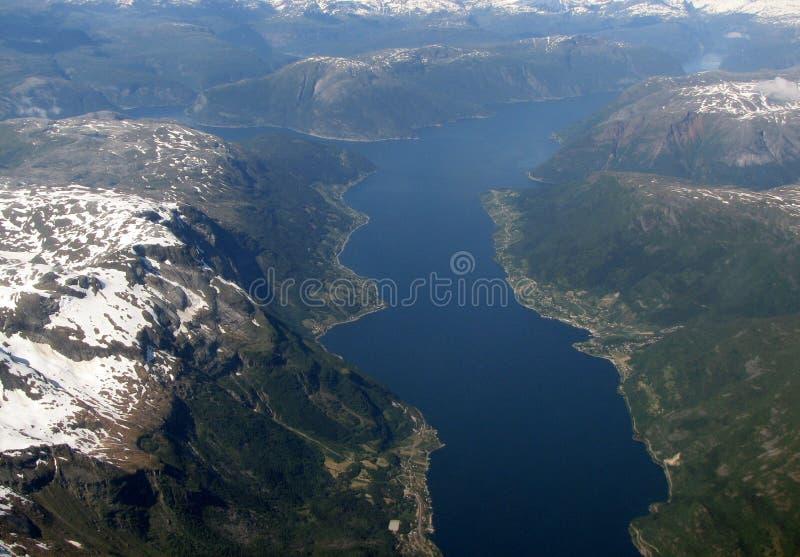 воздушный взгляд фьордов стоковые фото