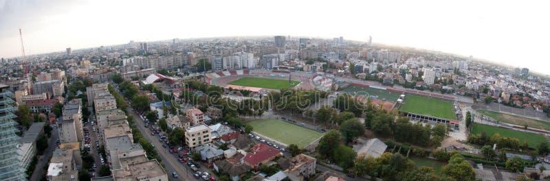 воздушный взгляд bucharest панорамный стоковые фотографии rf