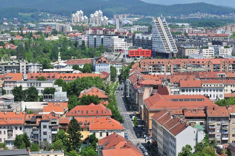 воздушный взгляд ljubljana стоковая фотография