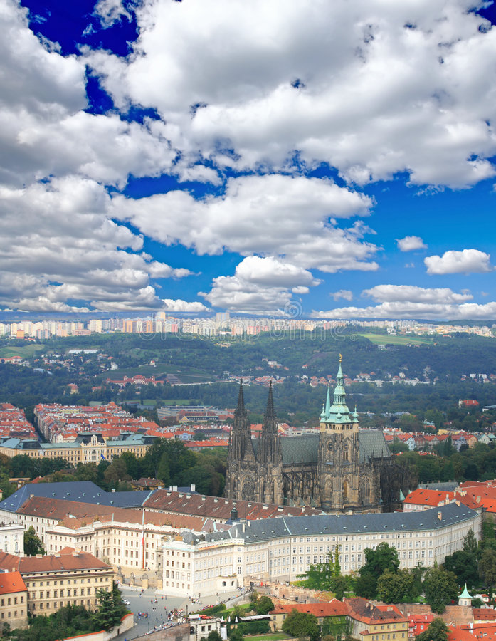 воздушный взгляд prague стоковое изображение rf