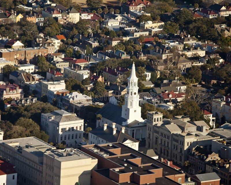 воздушный взгляд sc charleston стоковое изображение rf