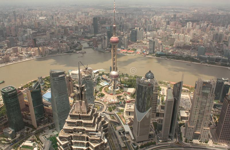 воздушный взгляд shanghai pudong стоковое изображение rf
