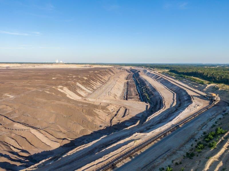 Воздушный выравниваясь взгляд захода солнца юга Welzow, одного из самое большое рабочее немецкое открытого - брошенные шахты лигн стоковая фотография rf
