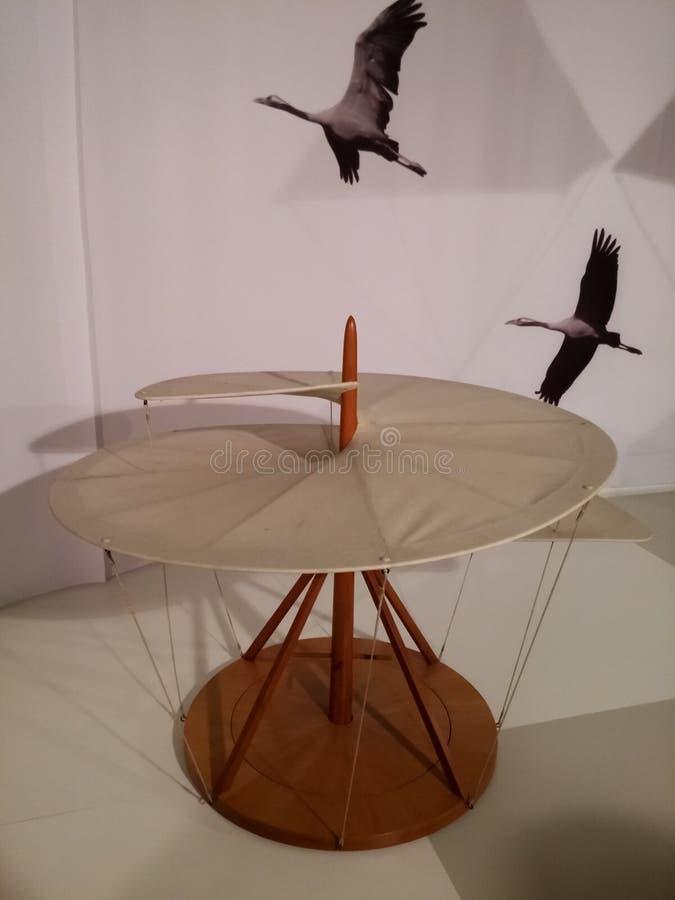 Воздушный или спиральный винт воздуха Прибор или вымысел Леонардо Да Винчи стоковые изображения