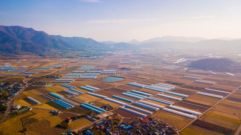 Воздушный ландшафт деревни hanok в Чонджу, Южной Корее стоковое изображение rf