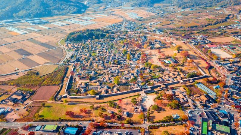 Воздушный ландшафт деревни hanok в Чонджу, Южной Корее стоковые фото