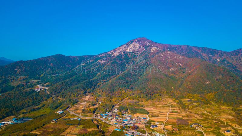 Воздушный ландшафт деревни hanok в Чонджу, Южной Корее стоковые изображения rf