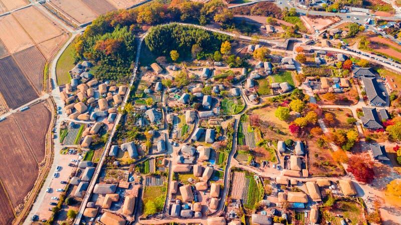 Воздушный ландшафт деревни hanok в Чонджу, Южной Корее стоковое фото rf