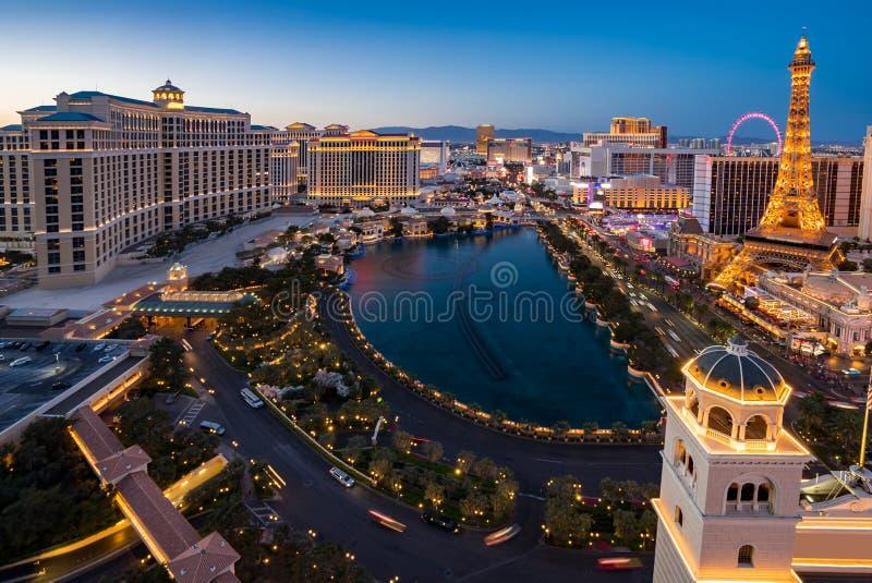 Воздушный Лас-Вегас вечером стоковая фотография