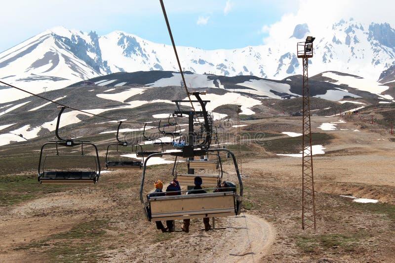 Воздушный лыж-подъем на держатель Erciyes в центральной Анатолии, Турции стоковые фото